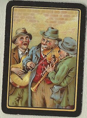 Vintage Playing Swap Cards Old Wide GENTLEMAN PLAYING MUSIC