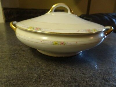 Vintage Noritake Nippon Hand Painted Round Serving  Dish With Lid