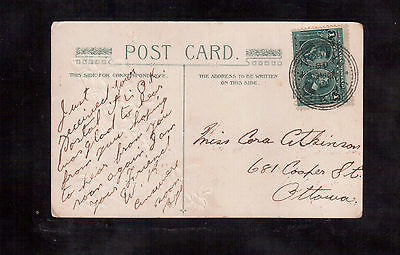 CANADA 1 cent # 97 on 1908 POSTCARD !!