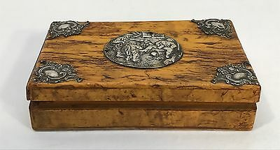 Antique Vintage Olive Wood And 800 Sterling Silver Trinket Jewelry Box
