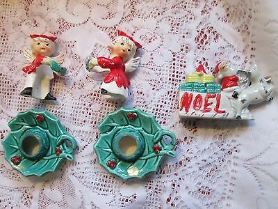 Vtg. Commodore POINSETTIA BOY & GIRL ANGEL CANDLE HUGGER-CLIMBER W/ HOLLY BASE