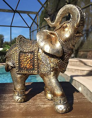 Gold Mosaic TRUNK UP ELEPHANT Feng Shui Home Decor Good Luck New Years Gift