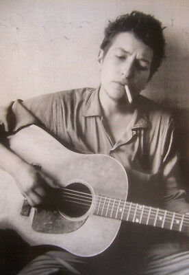 Bob Dylan Young Bob with Guitar and Cigarette Poster  24 x 36  Black and White