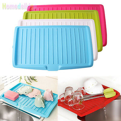 New Plastic Kitchen Large Dish Drainer With Drip Tray Plate Rack Cutlery Holder