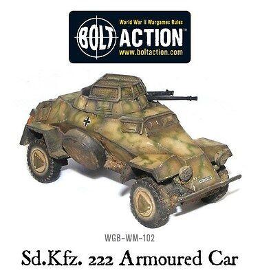 Warlord Games Bolt Action SD.KFZ 222 Light Armoured Car 28mm Scale Miniatures.