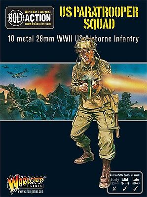 Warlord Games Bolt Action US Paratrooper Squad 28mm Scale Miniatures.