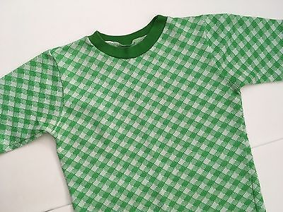 Vintage Green Gingham Polyester T-Shirt XS Small 60s 70s