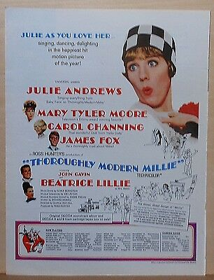 """1967 magazine ad for movie """"Thoroughly Modern Millie"""" - Julie Andrews, colorful"""
