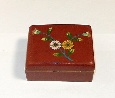 Nice Chinese Cloisonne Red Enamel Floral Humidor Jar Box
