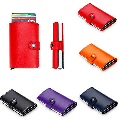 New Leather ID Credit Card RFID Aluminum Protector Holder Purse Wallet