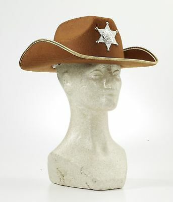Child Brown Sheriff Hat Old Western Cowgirl Cowboy Hat W Badge Costume  Accessory ea7ffca2a135