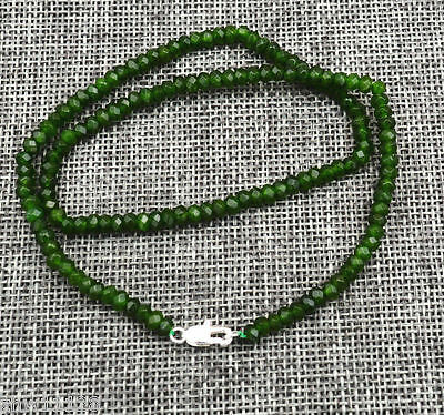 Beautiful! New 2x4mm Faceted Natural Emerald Roundel Gems Necklace 18''