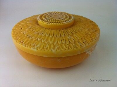 VINTAGE Powder Box or Trinket Container - Early Plastic - Mottled Yellow