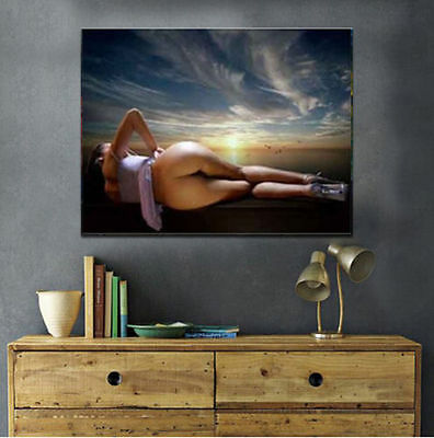 Nude / Naked Woman/Girl, Hand Painted Oil Painting on Canvas (24x36in, No frame)
