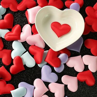 100Pcs Padded Fabric Throwing Petals Love Heart Table Wedding Party Decoration