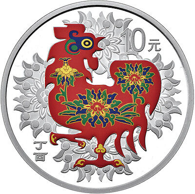 30 Gr. Silber PP Proof Color Farbe Hahn Rooster Lunar China 2017