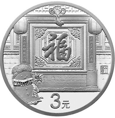 VVK 8 Gramm Silber Proof Neujahrsmünze New Year Celebrating 3 Yuan China 2017