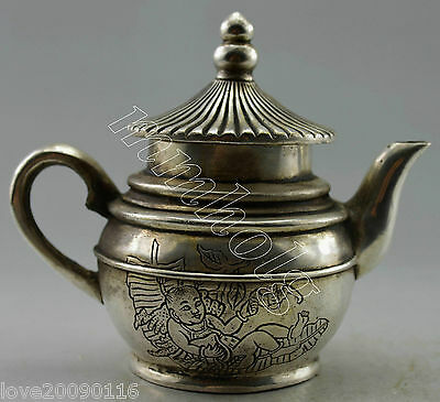 Collectible Decor Old Handwork silver plate copper Carved Child ON Leaf Tea Pot