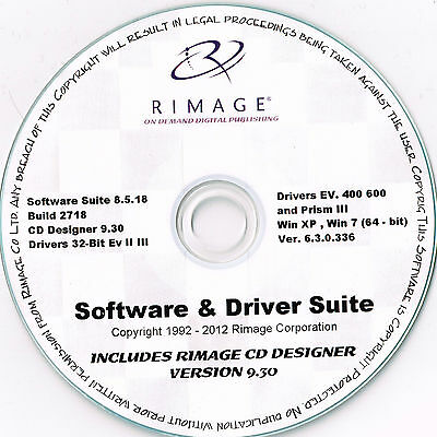 Rimage Everest & Prism Software And Driver Suite And Rimage Cd Labeler