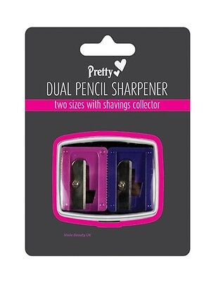 Pretty Dual Pencil Sharpener 2 Holes Eyebrow Pencil Duo Dual Eyeliner Lip Liner