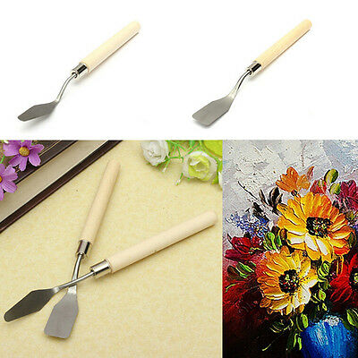2x Wood Handle Metal Palette Knife Spatula Oil Texture Painting Art Craft Tool h
