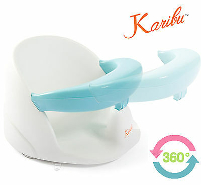 Karibu Swivel Baby Bath Support Seat 360° with Strong Removable Front Bar - Blue