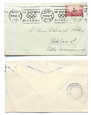 Finland 1939 Red Cross Olympics Roller Cancel Cover