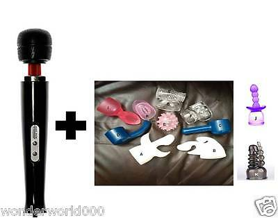 Magic Wand Massager (10 Speed Black Cordless) + 2 - 8 Attachments