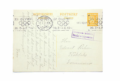Finland 1940 Olympics Roller Cancel War Censored Postcard Cover
