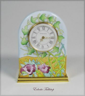 Halcyon Days Enamel Clock Designed by Tiffany & Co. - New Battery - Free Ship