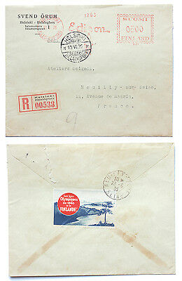 Finland 1940 Olympics Fundraising Label Vignette on 1936 Cover