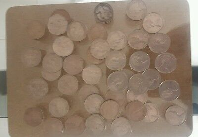 5p coins, 5 pence coins from 1975 -1980 total of 44 circulated coins