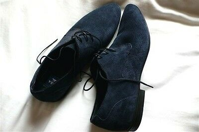 New Zara Mens Black Blue Navy Suede Leather Oxford Shoes Size 7