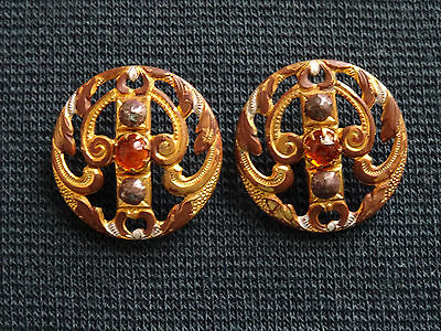 Antique Pair Gold Metal Set With Steel & Yellow Glass Central Stone Buttons