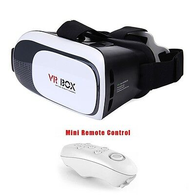 VR Box Virtual Reality 3D Headset Glasses + Remote for Google Android & iPhones.