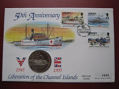 Alderney 1995 2£ Pound Crown Coin Liberation of Channel Islands Jersey stamp FDC