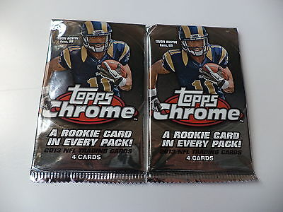 Topps Chrome 2013 NFL American Football Factory Sealed Trading Card Packs x 2