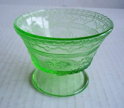 Green Depression Federal Glass Patrician Spoke Pattern Footed Sherbet Dish