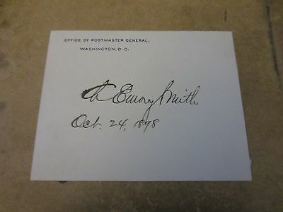 Charles Emory Smith autographed large Postmaster General card 1898
