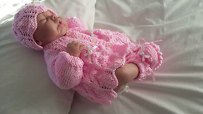 "Hand Knitted Pink Matinee Set for 16-18"" Reborn or Early Baby"