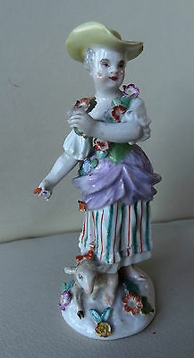 Early Meissen Porcelain Shepherdess Figure with Sheep - 18th Century