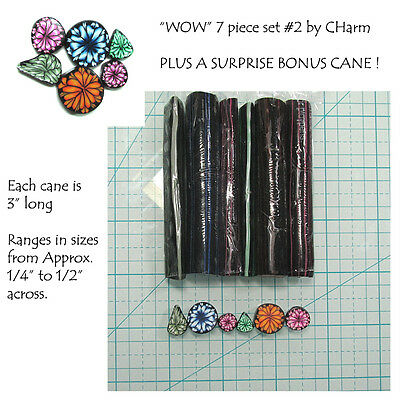 """WOW Polymer clay cane set of 7 canes EACH  3"""" Long design by CHarm #2"""