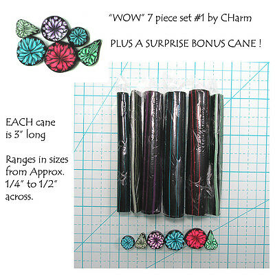 """WOW Polymer clay cane set of 7 canes EACH  3"""" Long design by CHarm #1"""