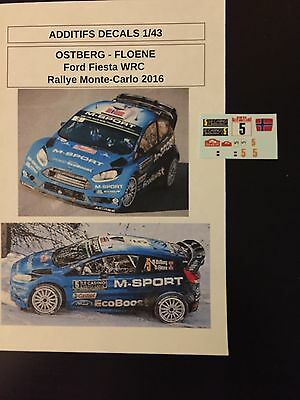Decals 1/43 Ford Fiesta Wrc Mads Ostberg Rallye Monte Carlo 2016 Rally Diecast