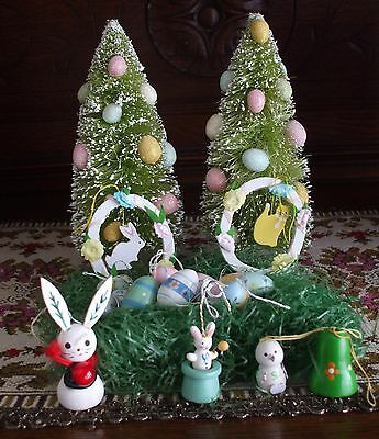 Vintage Easter Ornaments Egg Tree Wooden Frames with Applied Flowers Rabbits