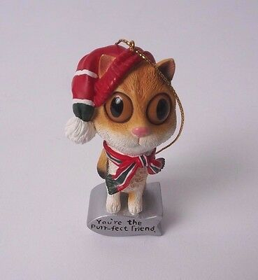 You're the Purr-fect Friend Christmas Tree Ornament Kitty Cat Big Eyes