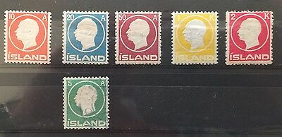 1912 Iceland SG102-107 Frederik VII MH and used cat val £90+