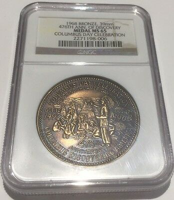 Columbus Day Celebration Medal. NGC MS 65.  With Indians. Gem Uncirculated Unc.