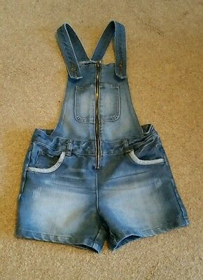 Denim dungaree shorts age 9 to 10 years