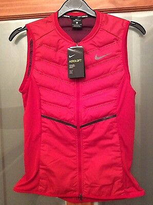 NIKE Womens Aeroloft 800 Lightweight Gilet Running Size Small in Red